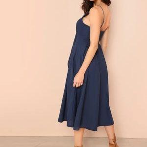 SHEIN Dresses - SHEIN Bow Tie Button Through Peekaboo Cami Dress